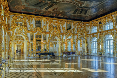 Catherines Palace ballroom hall in Tsarskoe Selo (Pushkin), St. Petersburg, Russia Editorial