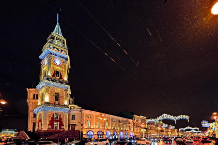 Christmas and New Year selebration illumination on streets. Nevsky Prospect, tower of town council.