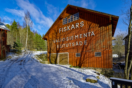 Snow covered buildings of the former Fiskars Ironworks Village in Raseborg (formerly Pohja), Finland