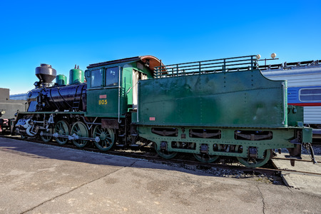 traction: Freight locomotive TKZ 1105 in the railway Museum in Saint-Petersburg