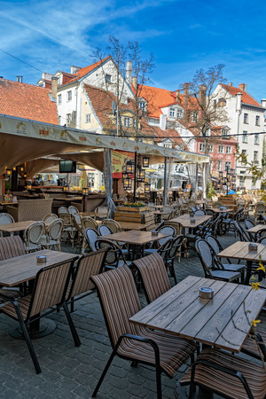 Summery cafe in old part of town Riga, Latvia