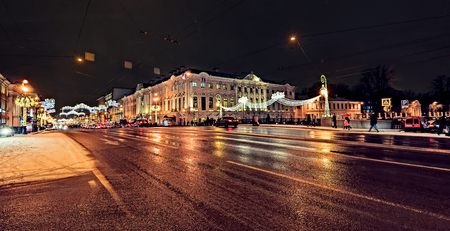 New Year illumination on the Green Bridge over the Moika River and the Nevsky prospect. Editorial