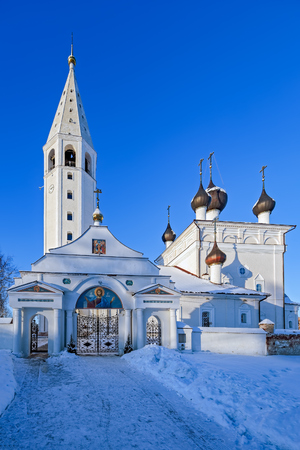 Orthodox church of Resurrection of Jesus Christ in the russian ancient village Vyatskoe in Yaroslavl region, Russia at cold snowy winter day.