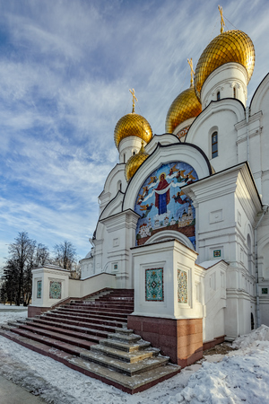 Assumption Cathedral in Yaroslavl (Russia) - Orthodox church, founded in 1215. The cathedral is decorated with the worlds largest over the gate tiled icon of the Dormition of the Mother of God - 37 square meters.  The original cathedral, also known as th
