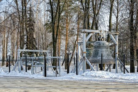 peal: YAROSLAVL, RUSSIA - January 04, 2017: Restored external set of bells (carillon), Cathedral of the Assumption of Our Lady. The original cathedral, also known as the Annunciation Cathedral, was blown up by the Bolsheviks in 1937. The current one is a modern