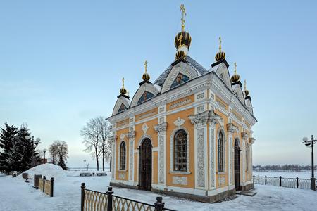 nikolay: Chapel St. Nicholas Wonderworker on Volga embankment at winter sunrise. Rybinsk, Yaroslavl region, Russia.