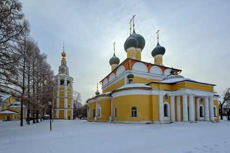 Spaso-Preobrazhensky Cathedral (Cathedral of the Transfiguration of Our Savior, 1713) and bell tower in Uglich Kremlin, Russia at winter Editorial