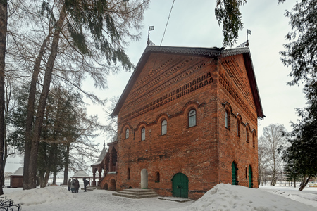 xv century: Red brick Chambers of Uglich feudal princes (built in 1480) at cold winter day. Architectural monument of XV century, one of oldest civil buildings of Russia