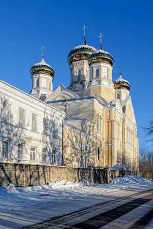 Andronikova Church of Our Lady of Sorrows in orthodox convent Kazan Icon of the Mother of God in Vyshny Volochyok, Russia at winter