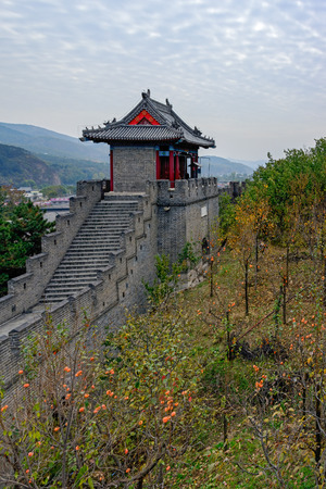 The Great Wall of China at remote location at Huangyaguan over Huangya Pass, first built during the Northern Qi Dynasty (550 - 557). Huangyaguan is considered to be a miniature of the Great Wall of China. China, Ji Province, Tianjin.