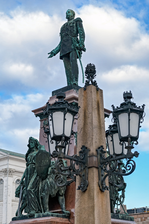 Ornate lights and Statue of Alexander II, emperor of Russia, on Senate Square, Helsinki, Finland