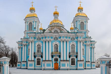 sobor: Saint-Nicholas Naval Cathedral (Nikolskiy morskoy sobor) in Saint-Petersburg, Russia at winter overcast day. Stock Photo