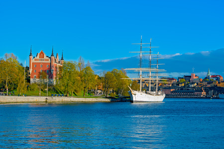 Chapman, the famous Stockholm landmark sailing ship permanently anchored at the island of Skeppsholmen in in Stockholm, Sweden.