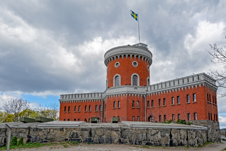 bandera de suecia: Small brick citadel Kastellet on the islet Kastellholmen in central Stockholm, Sweden.