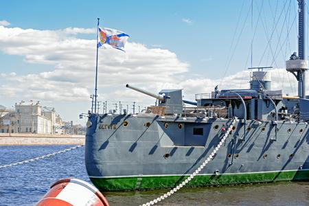 The legendary revolutionary ship-museum Cruiser Aurora at Neva river in Saint-Petersburg, Russia. Editorial