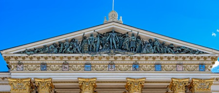 friso: The tympanum over the House of Estates with a group of symbolic bronze figures by sculptor Emil Wikstrom (1903) depicting Tsar Alexander I at the Diet of Porvoo.