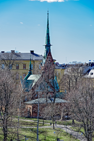 The red brick German Church of Helsinki (Saksalainen kirkko) designed by Harald Bosse and C.J. von Heideken. Stock Photo