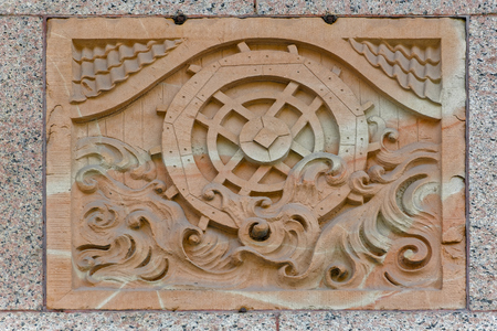 Facade details of a historic Centralpalatset building by architect Ernst Stenhammar (1886), the first commercial office building in Stockholm
