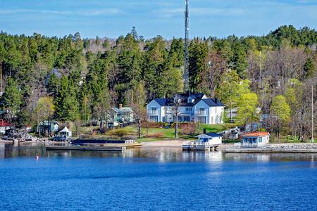 Waterfront mansion in Stockholms Skargarden (Stockholm Archipelago), Sweden Editorial
