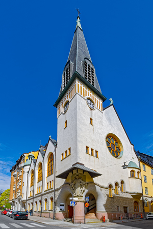 St Peters Church, designed by Erik Lallerstedt and built in the Art Nouveau style in 1900-1901. Norrmalm, Stockholm, Sweden. Stock Photo
