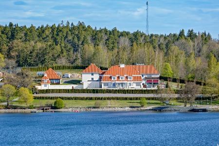 waterfront property: Waterfront mansion in Stockholms Skargarden (Stockholm Archipelago), Sweden Stock Photo