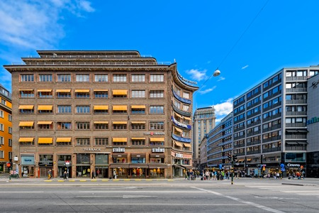 Corner of Sveavagen and Kungsgatan, with one of Kungstorn tower, Norrmalm. Editorial