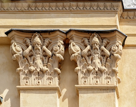 ornamentations: Elaborately decorated columns with troll on Kingstradgardsgatan, Stockholm Stock Photo