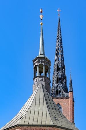 Cast iron spire of one of main Stokholm landmarks Riddarholm Church (Riddarholm Kyrka) on Riddarholmen island also known as Knights Islet.