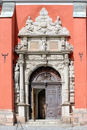 Entrance to Saint Jamess Church, patron saint of travellers (Sankt Jacobs kyrka), in Norrmalm district. Stock Photo