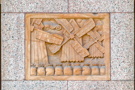 bas relief: Facade details of a historic Centralpalatset building by architect Ernst Stenhammar (1886), the first commercial office building in Stockholm