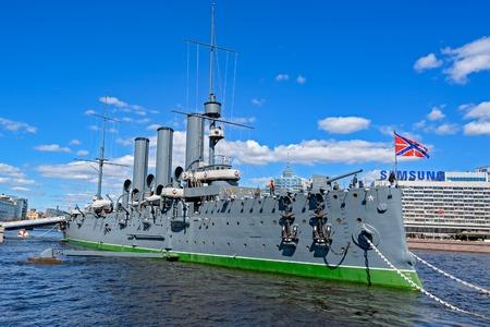 ST.PETERSBURG, RUSSIA - May 03, 2017: The legendary revolutionary ship-museum Cruiser Aurora at Neva river in Saint-Petersburg, Russia.