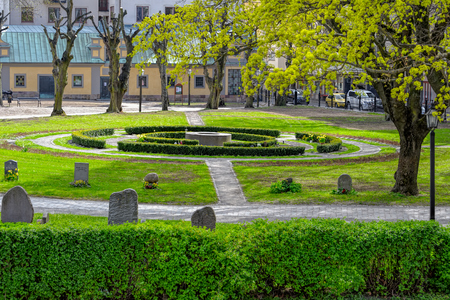Cemetery in front of the protestant Maria Magdalena Church in Stockholm, Sweden.