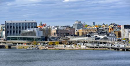Norrmalm with the new Waterfront complex and World Trade Center view from Monteliusvagen lookout point in Sodermalm island. Stockholm, Sweden.