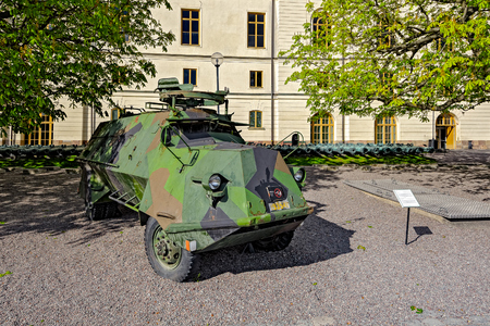 Swedish armys first armoured personnel carrier Terrangbil m42 KP (Tgbil m42 SKPVKP), meaning Off-road vehicle [19]42, at the Armemuseum (Army Museum).