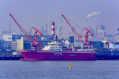 SHANGHAI, CHINA - Feb 13, 2017: FA XIAN 6, Rolls-Royce designed seismic research vessel by Shanghai Offshore Petroleum Bureau, a part of the Chinese conglomerate Sinopec, berthed at pier in Shanghai.