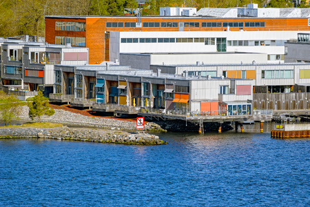 STOCKHOLM, SWEDEN - May 07, 2017: Triplex apartment, part of Gashaga Pier, one of the most exclusive family housing projects in Sweden designed in 2001 by Sandell Sandberg Architects.