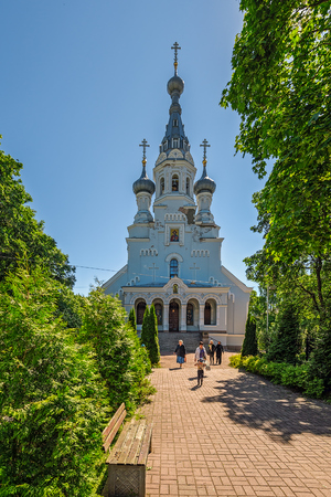 ST. PETERSBURG, RUSSIA - June 29, 2017: Cathedral of the Vladimir icon of the Mother of God in  Kronstadt at the island Kotlin near the Saint-Petersburg, Russia. Editorial