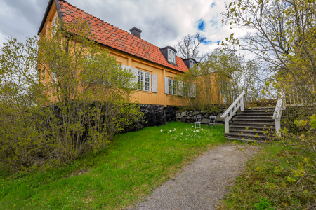 STOCKHOLM, SWEDEN - May 08, 2017: Gamla Huset, the Old House, still stands on the grounds and is among the oldest structures at Waldemarsudde. The house took on its current appearance in the 1780. Editorial
