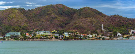 Winter panoramic view from sea to coastline of Vung Tau, a sea city in the south of the country.