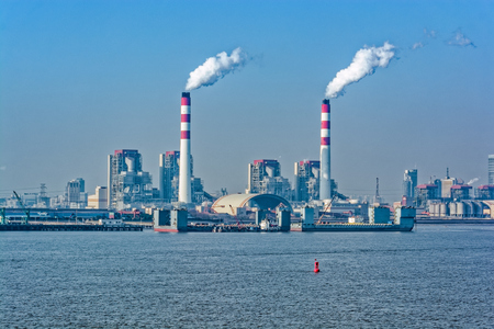 Twilight view of Chinas Biggest coal-fired power plant in Shanghai, China.