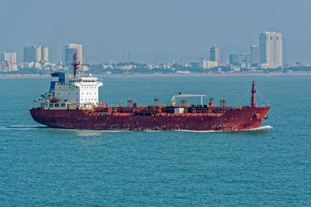 Vietnamese chemicaloil products tanker sails along Vung Tau coast.