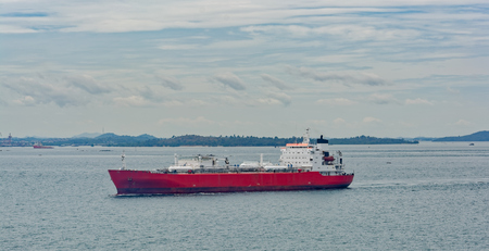 Liquefied Petroleum Gas (LPG) tanker is passing by Strait of Singapore. Reklamní fotografie