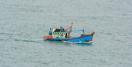 Vietnamese fishing boat in the south sea Stock Photo