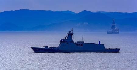 South Korean coastal defense Incheon-class frigate patrolling at sea