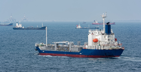 OilChemical tanker passes the Strait of Singapore