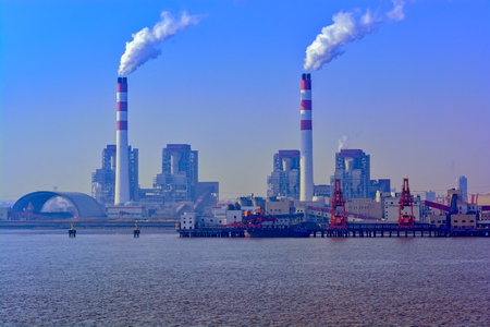 Twilight view of China's Biggest coal-fired power plant in Shanghai, China. Toned