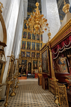 PSKOV, RUSSIA - Sep 16, 2017: Interior of the Trinity Cathedral in the Pskov Kremlin. The current cathedral was built in 1682-1699 on the place of the first wooden Trinity Cathedral of 10th century.