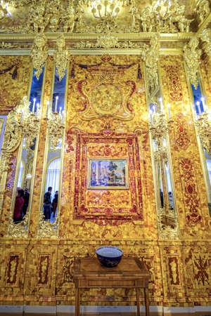 The newly renovated Amber Room (Amber Chamber) in the Catherine Palace is a complete chamber decoration of amber panels backed with gold leaf and mirrors. Sajtókép