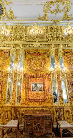 The newly renovated Amber Room (Amber Chamber) in the Catherine Palace is a complete chamber decoration of amber panels backed with gold leaf and mirrors.