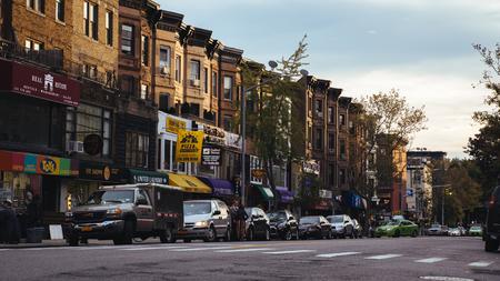 New York, USA / Circa 2016 / 7th avenue Brooklyn at dusk